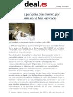 El 80% de las personas que mueren por gripe en España no se han vacunado