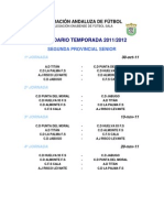 2ª PROV. CALENDARIO TEMPORADA 2011-2012