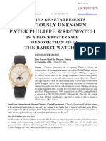 Christie's Geneva - IMPORTANT WATCHES - 14 November 2011 - Press Release