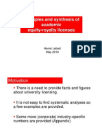 Examples and Synthesis of Academic Licenses to Start-ups - Lebret