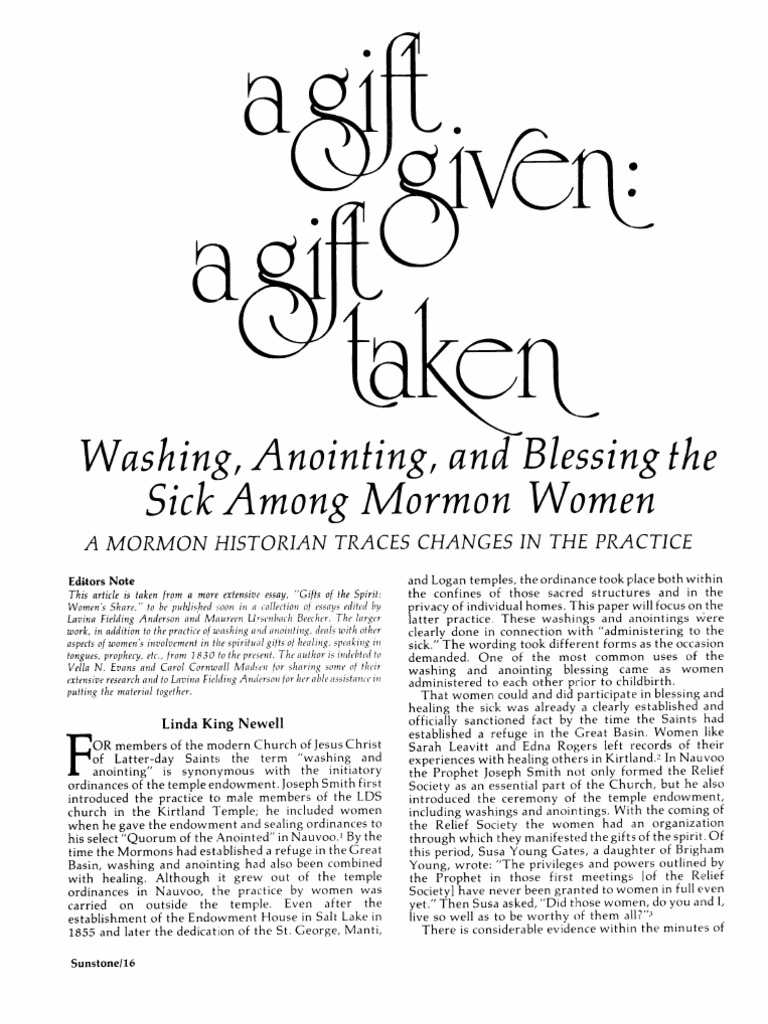 Washing, Anointing, and Blessing the Sick Among Mormon Women