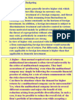 Project Appraisal International Investment