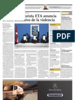 La Banda Terrorist A ETA Anuncia El Cese Definitivo de La Violencia
