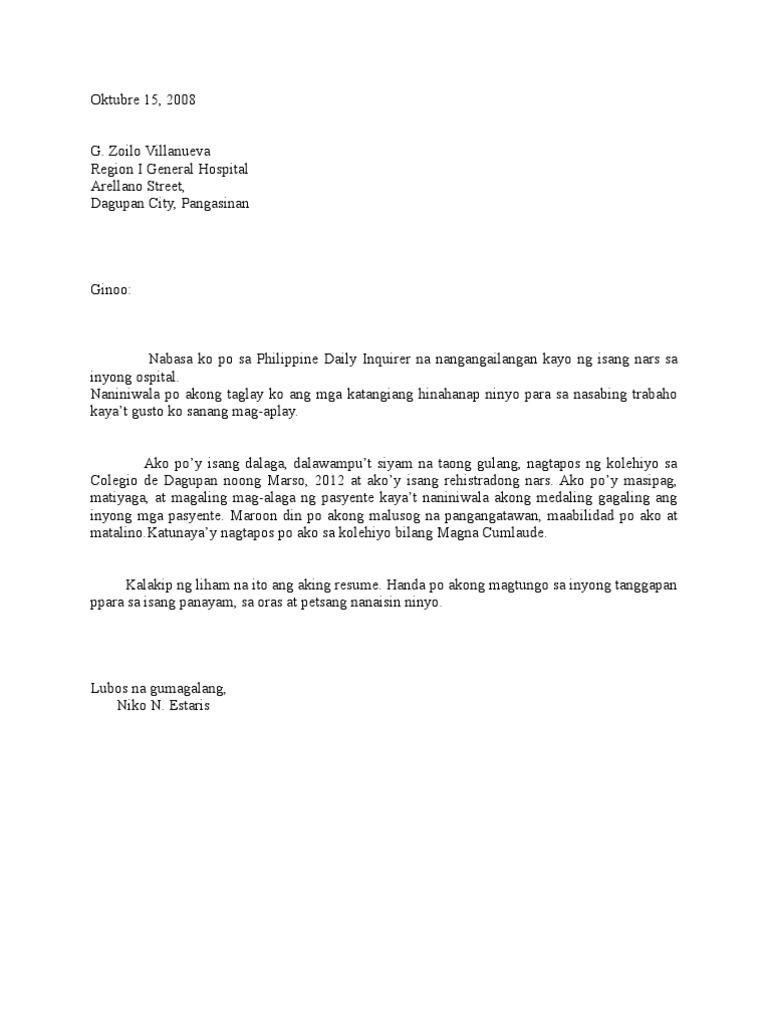 Application Letter Tagalog