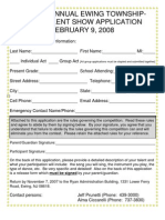 2008 talent show application