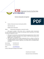 RCSS Statement Seeking Opinion and Suggestions possibility of peace talks -engl