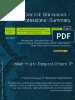 Ganesh Srinivasan Professional Summary
