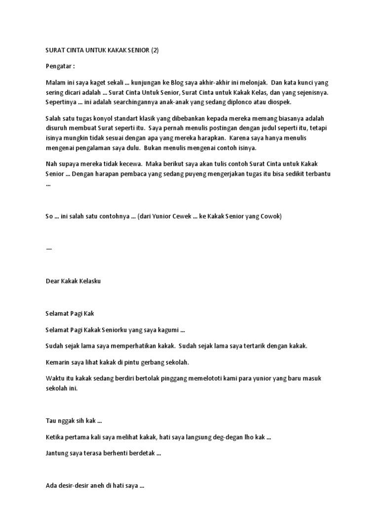 Contoh Surat Kagum Untuk Kakak Senior