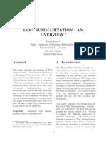 [1] TextSummarization - An Overview