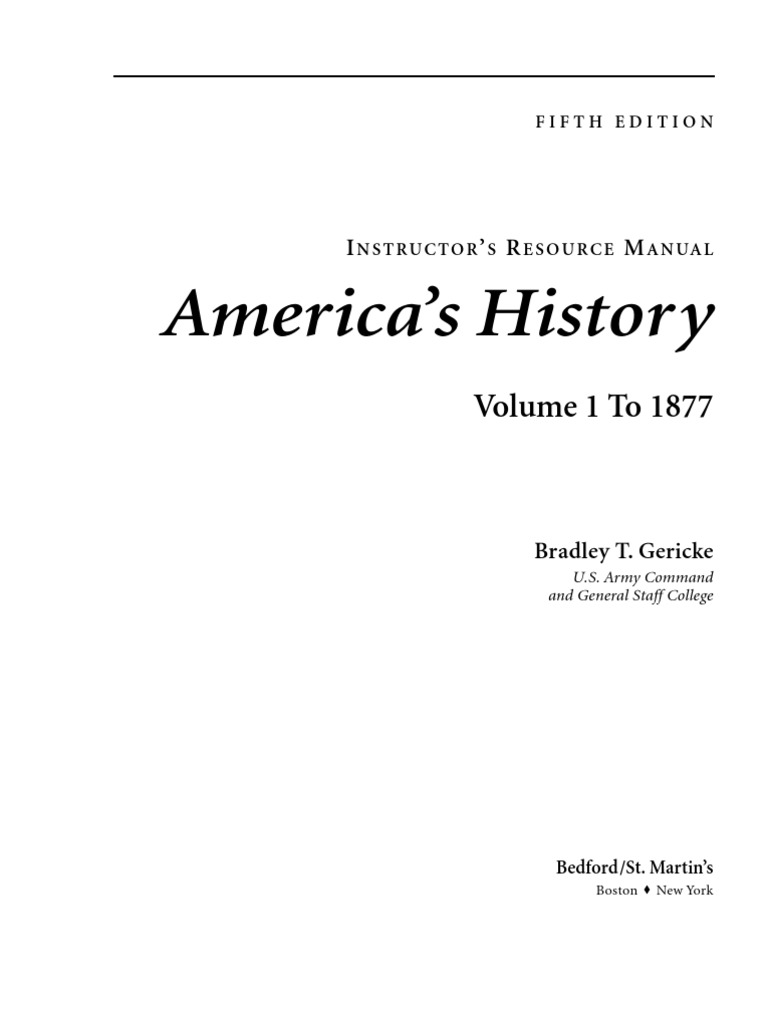 America's History Volume 1 Instructor's Manual