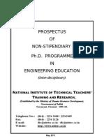 Prospectus of Non-stipendiary Ph d Programme