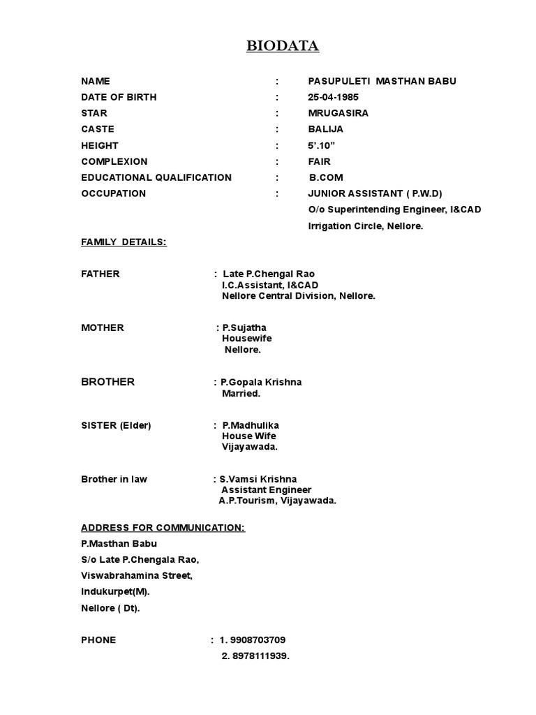 biodata format for marriage - Matrimonial Resume Format