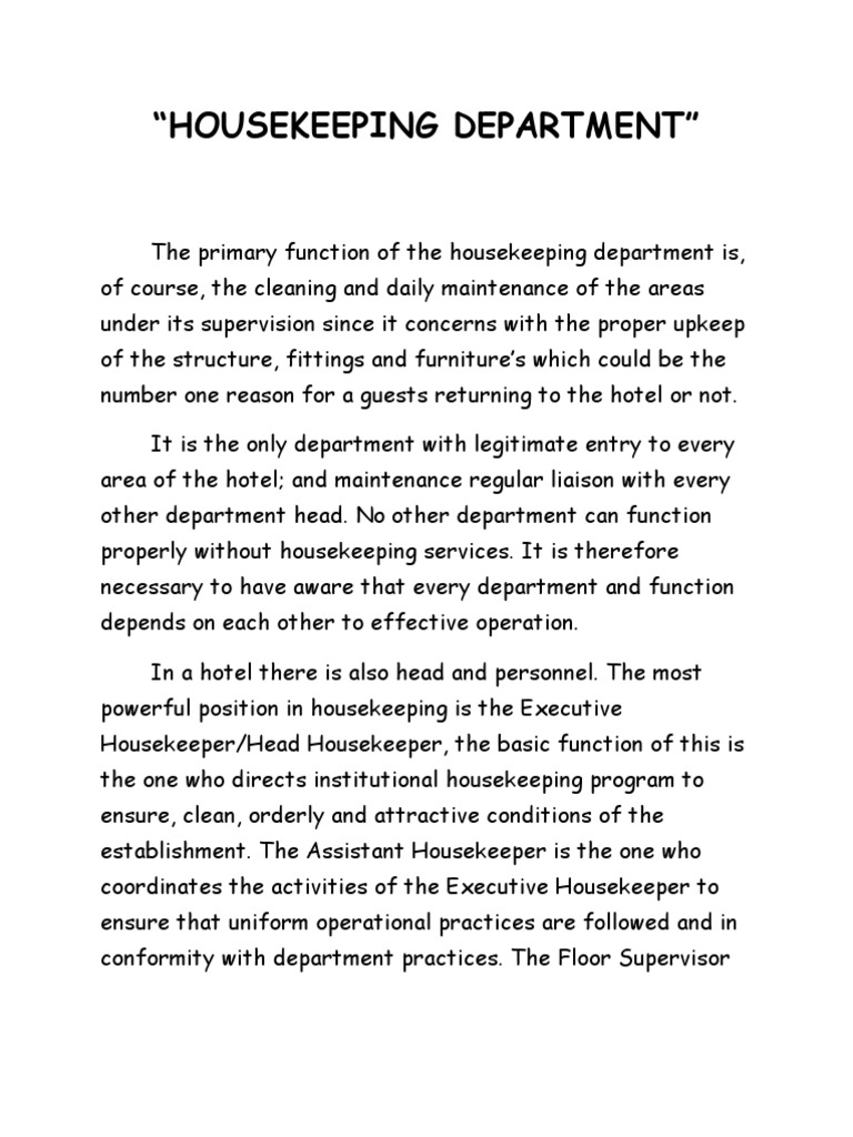 Housekeeping department housekeeping foods altavistaventures Images