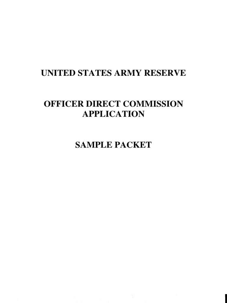 Direct Commission Example Packet United States Army Reserve