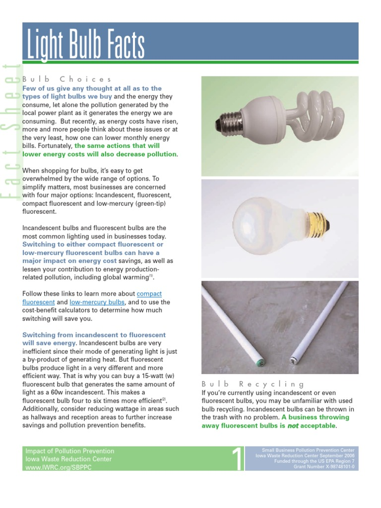 Light Bulb Facts | Mercury (Element) | Fluorescent Lamp.