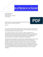 Forum Of Burmese Europe to DVB+BD(NO) Request to replace Director Harn Yawnghwe-engl