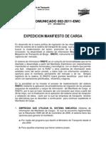 Comunicado 002 2011 Suspension Del Sistema de ion Manifiesto de Carga Electronico