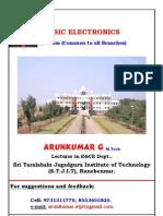 0 1st Year Basic Electronics Transistor Biasing Notes by Arunkumar G, Lecturer, EC Dept, STJIT, Ranebennur