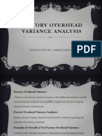 Factory Overhead VARIANCE Analysis