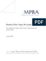 Business Plan, Paper Recycling Plant