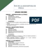 area de fisica.. listado de desempeños con criterios de evaluacion