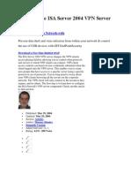 Enabling the ISA Server 2004 VPN Server