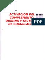 ACTIVACIÓN DEL COMPLEMENTO, QUININA Y FACTORES DE