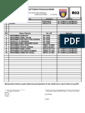 Borang R02 Pendaftaran Pasukan Mssm