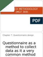 CHAPTER 7- Questionaire Design