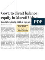 India Govt to Divest in Maruti Udyog