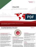 Global Reputation Pulse 2010 Top Line Report