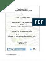 Sandia National Laboratories Fiscal Year 2012 Performance Evaluation Plan