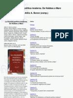 Borón, A.; La Filosofía Política Moderna. de Hobbes a Marx