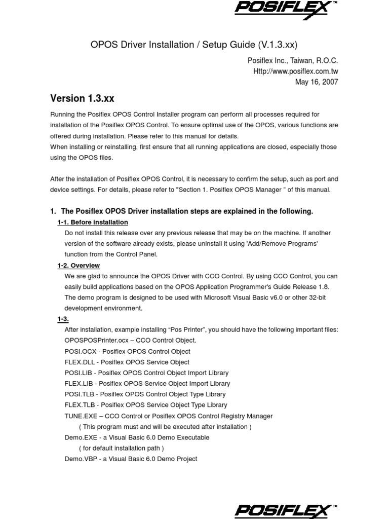 Posiflex OPOS Driver Installation V13xx | Installation (Computer