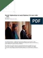 23-10-11 Afghanistan to Back Pakistan if Wars With U.S