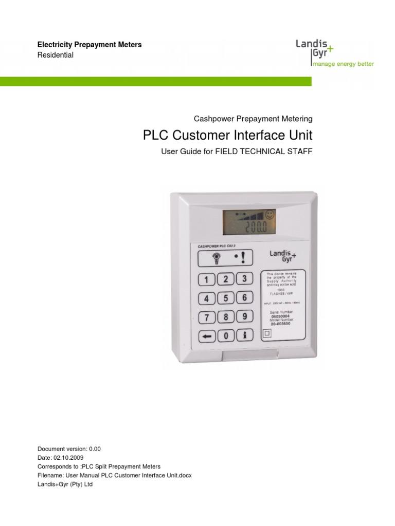 User Manual Plc Customer Interface Unit Technical Staff