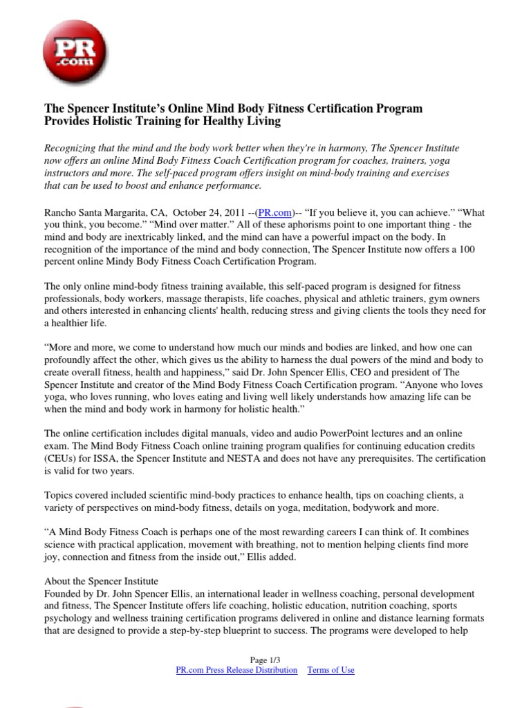 The Spencer Institute\'s Online Mind Body Fitness Certification ...