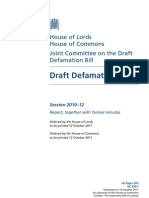Joint Committee on the Draft Defamation Bill - First Report Draft Defamation Bill