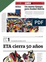 Gara reporting of Eta declaration