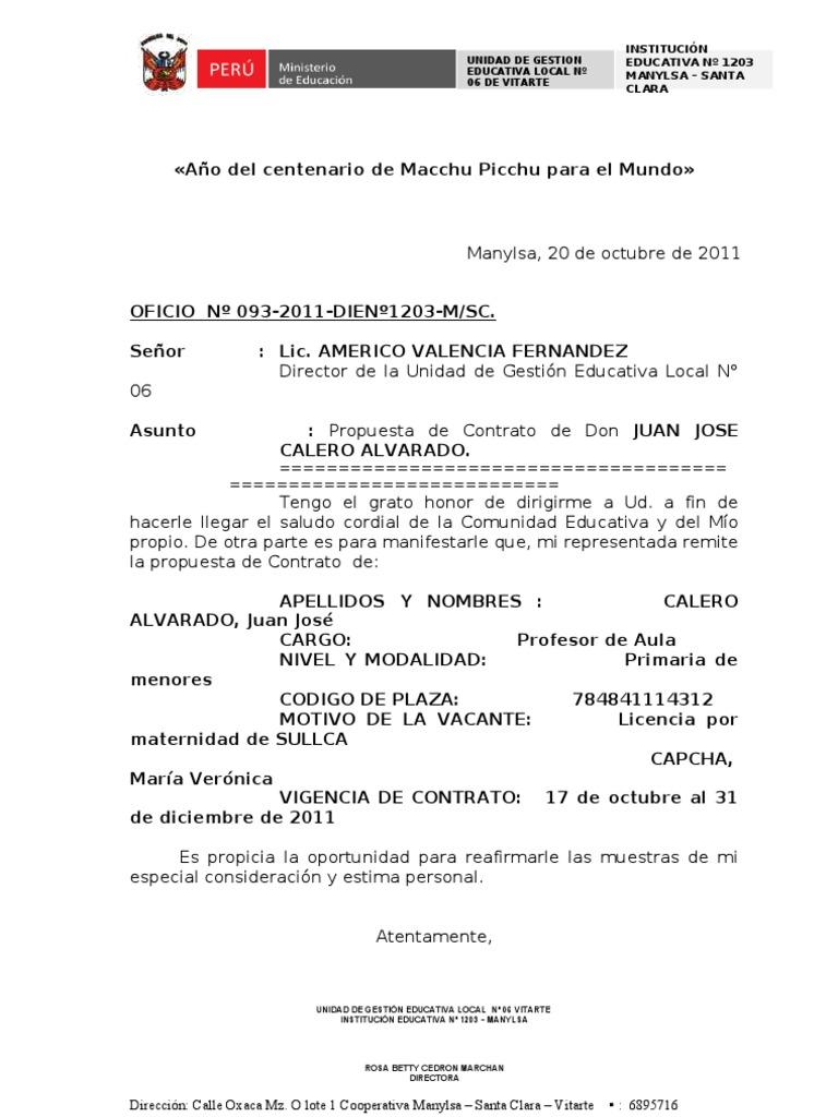 Oficio propuesta de contrato for Propuesta para una cantina escolar