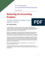 Balancing an Accounting Problem-GKH-Star 24 July 2010-Article1