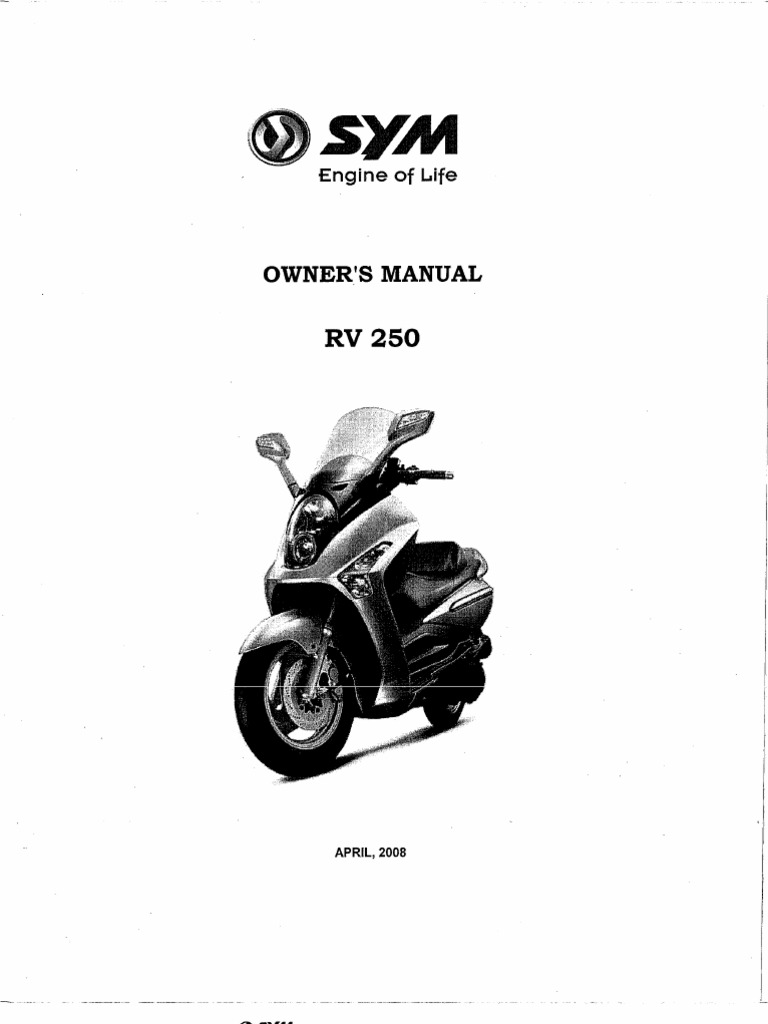 Owners Manual Sym Rv 250