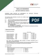 TABELA DE HONORÁRIOS
