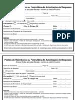 Pedido de Reembolso ou Formulário de Autorização de Despesas
