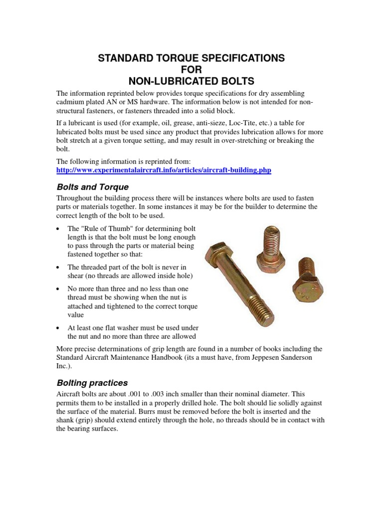 Torque Specs | Nut (Hardware) | Screw