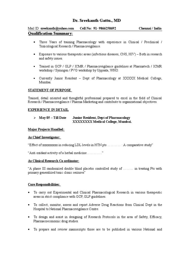 Sample Resume | Pharmacovigilance | Clinical Trial