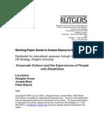 Schur Et Al on Corporate Culture and Disability (August 2006) Cvr