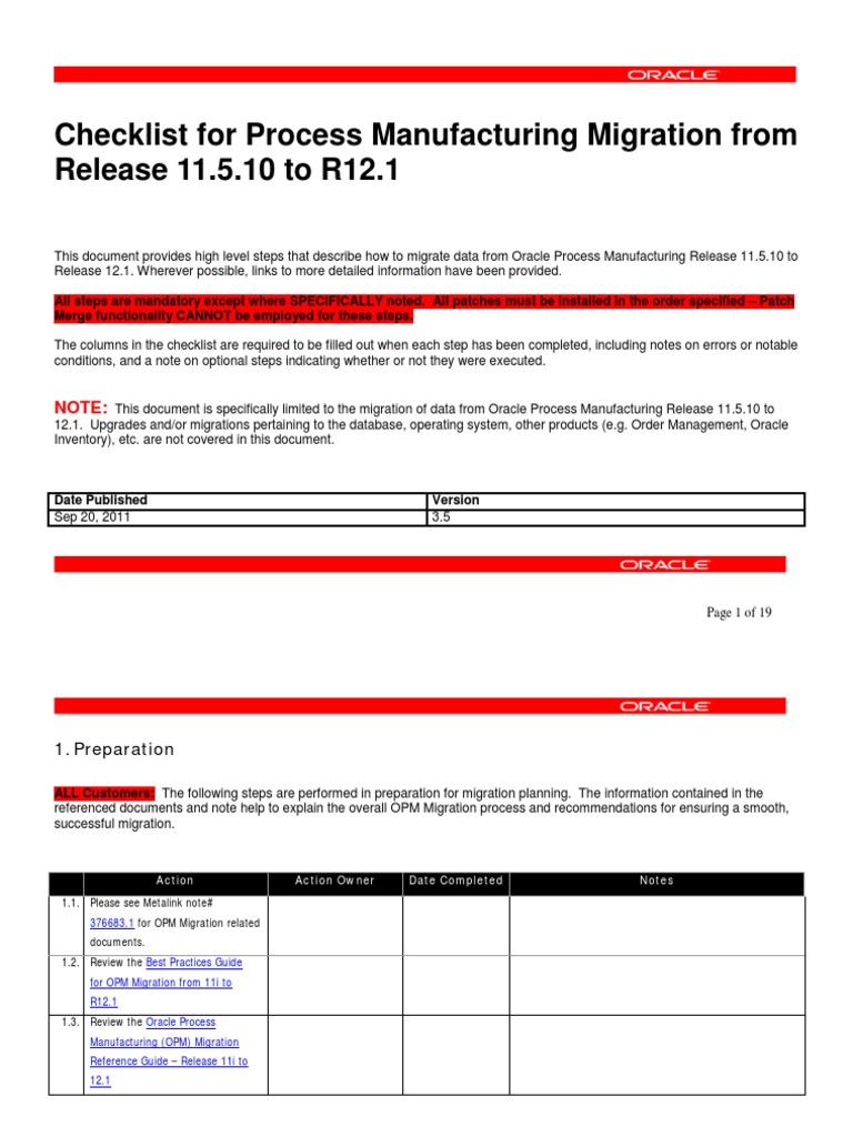 Migration Checklist(1) | Oracle Database | Inventory
