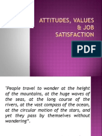 Attitudes, Values & Job Satisfaction