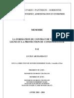 Contrat de Vente en Ligne Et Protection Du Conso